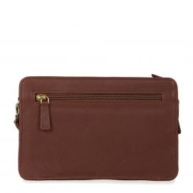 Leather Crossbody Handbag with Multiple Compartments